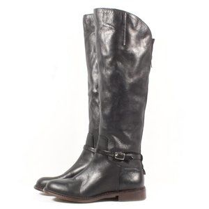 Franco Sarto Haylie Black Leather Heel Boots New